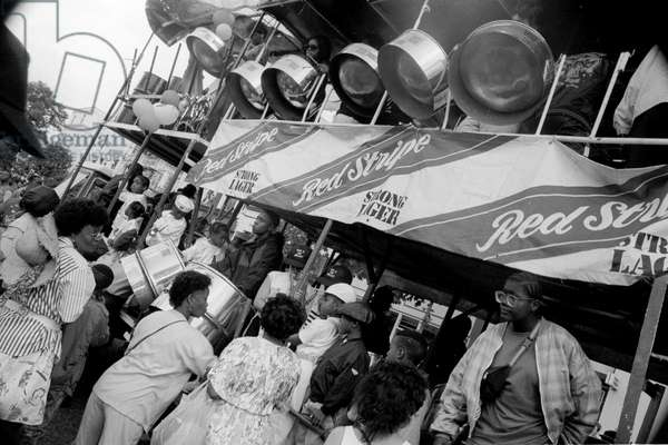 Notting Hill Carny Steel Drums, 1989 (b/w photo)