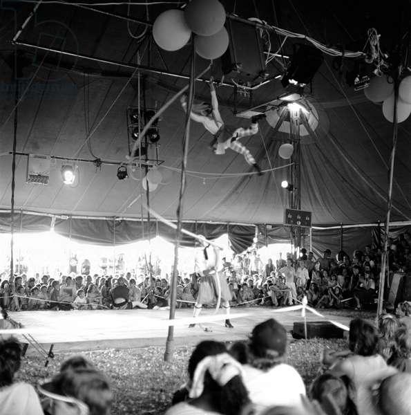 Glastonbury 89 Circus, 1989 (b/w photo)