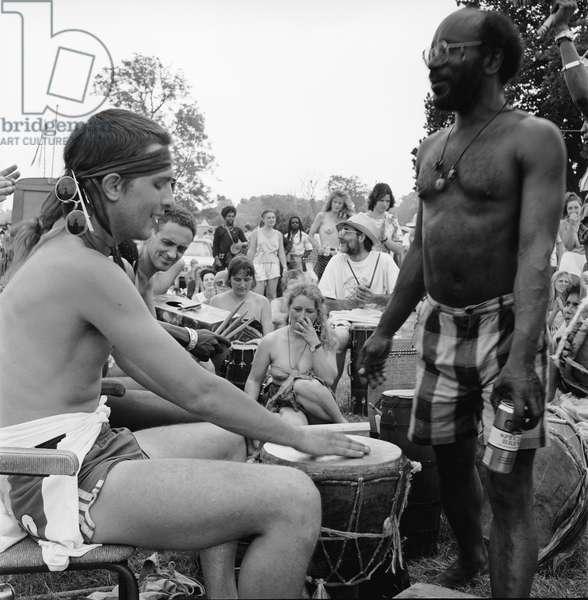 Glastonbury 89 Drum Workshop 1, 1989 (b/w photo)