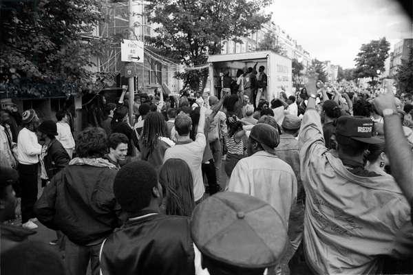 Notting Hill Carny Rig, 1989 (b/w photo)