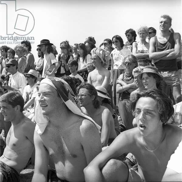 Glastonbury 89 Crowd, 1989 (b/w photo)