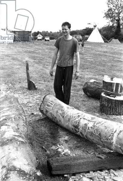 Glastonbury 89 Dom Wood Carver, 1989 (b/w photo)
