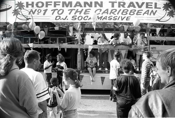 Notting Hill Carny Soca Massive, 1989 (b/w photo)
