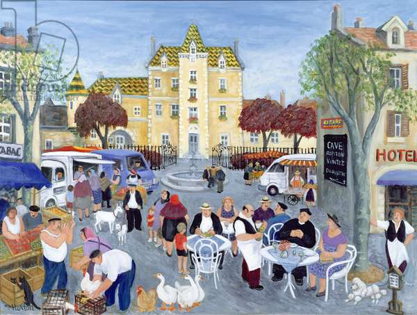 Town Square in Burgundy (oil on canvas)