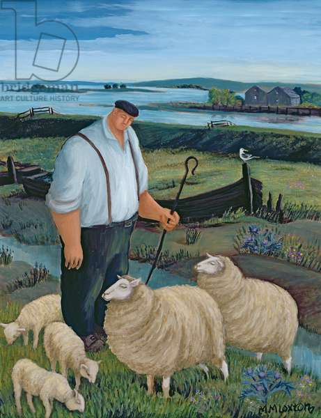 Shepherd with Sheep in River Landscape