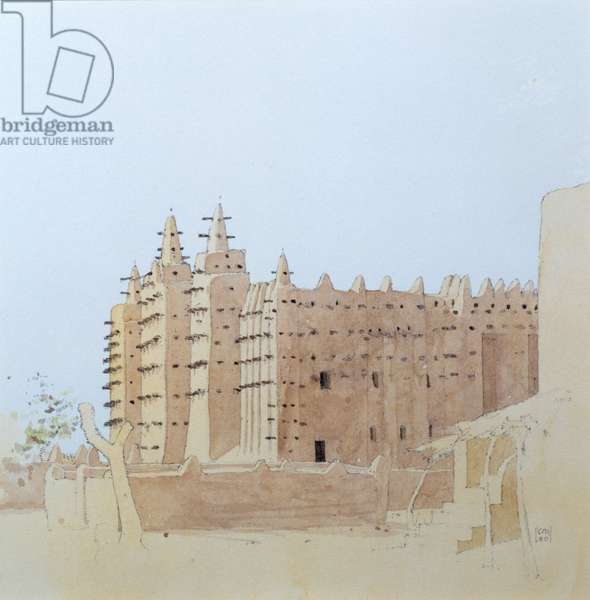 Djenne (Mali) Grande Mosquee, Tuesday, 2000 (w/c on paper)