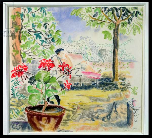 Relaxing in the Garden, Provence, 1952 (pastel on paper)