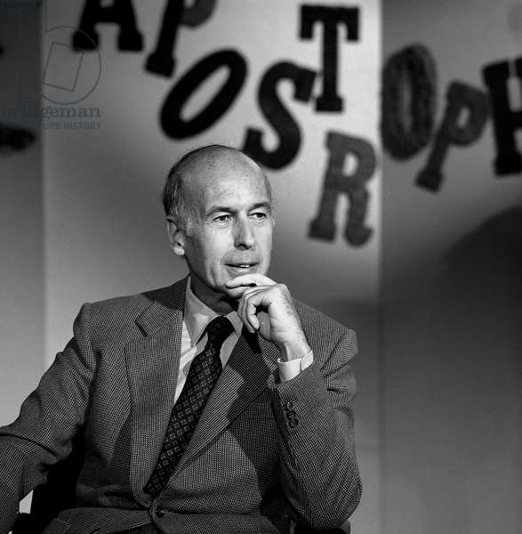 """French politician and writer Valery Giscard d'Estaing (VGE) during tvprogram """"Apostrophes"""" on July 27, 1979, France"""