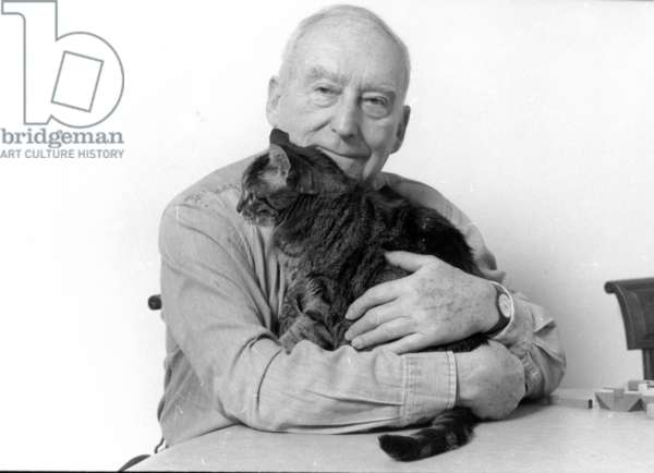Pierre Barillet and his cat (b/w photo)