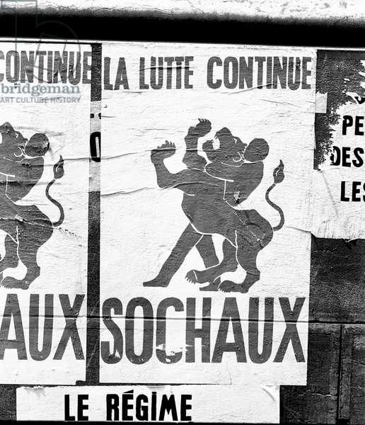 Poster, Paris, France, 1968 (b/w photo)