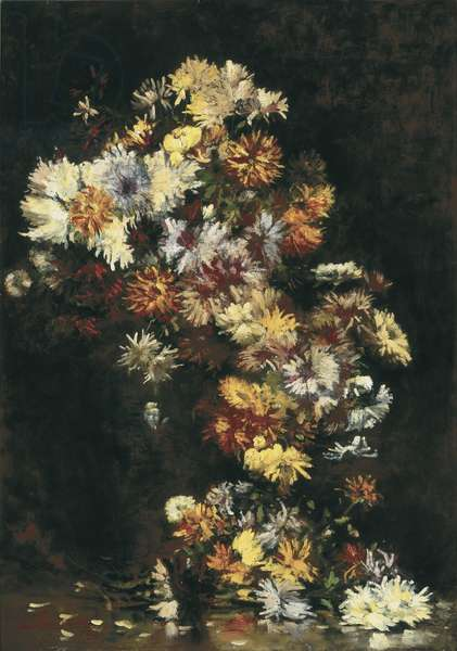 Chrysanthemums in a Devil Vase, 1886 (oil on canvas)