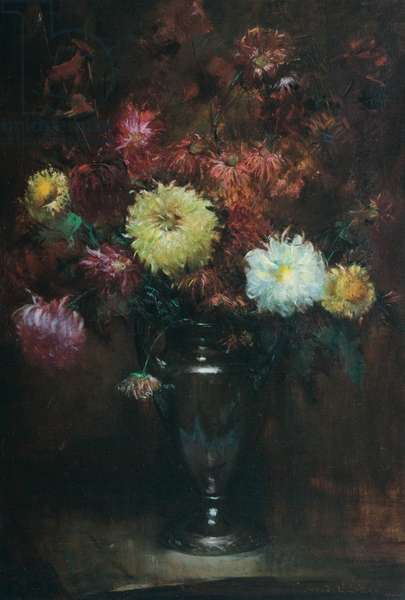 Still Life with Chrysanthemums (oil on canvas)