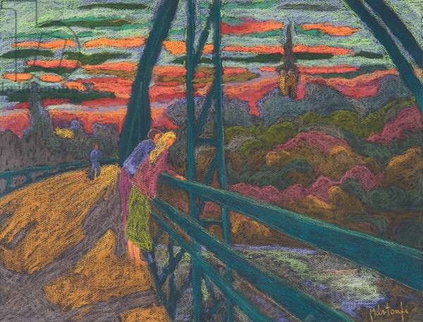 On the Bridge, 2009 (pastel on paper)