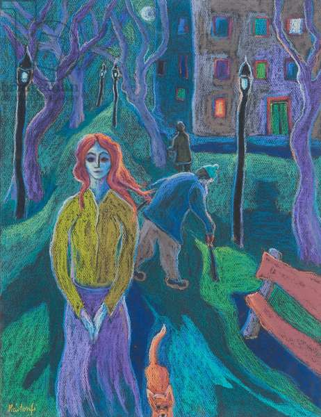 Evening Walk, 2005 (pastel on paper)