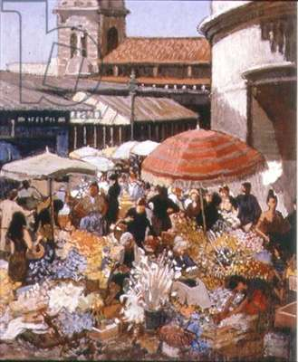 Flower Market - Monte Carlo, 1979 (oil on canvas)