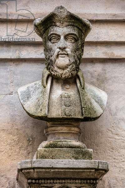 Bust of Nostradamus (Michel de Nostredame) French astrology and medicine (1503-1566) a Saint Remy de Provence Sculpture by Liotard de Lambesc (1859) (Bust of Nostradamus by Liotard de Lambesc (1859)