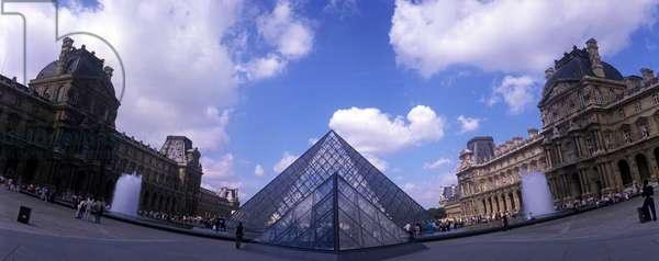 Panoramic view of the pyramid of the Louvre Museum in Paris. Architect of the pyramid: Ieoh Ming Pei.