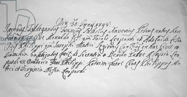 Birth certificate of Giacomo Leopardi/Atto di nascita di Giacomo Leopardi -