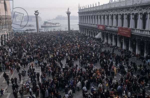 Venice Carnival 1998. A crowd in St. Mark's Square