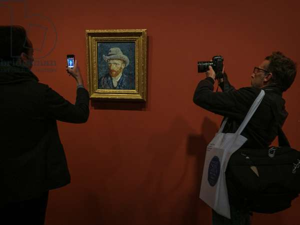 """A Vincent van Gogh's self portrait shown in the exhibition """"Van Gogh in Provence: Modernizing Tradition"""" at the Vincent van Gogh Foundation (Fondation Vincent van Gogh), Arles, France, 2016. A"""