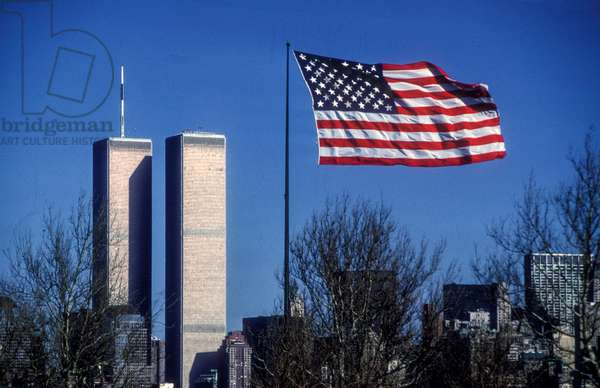 New York, 1989, Twins Towers and American flag