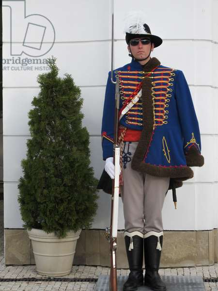 Bratislava, 2010. Soldier of the guard at the Grassalkovich Palace (Slovak: Grasalkovičov pal