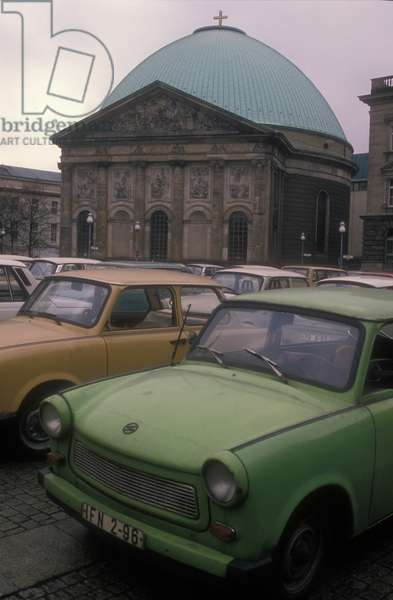 East Berlin, 1989. DDR cars in front of the St. Hedwigs Cathedral