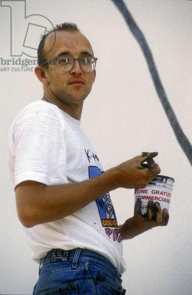 American artist Keith Haring (1958-1990) in 1989. Pisa Italy