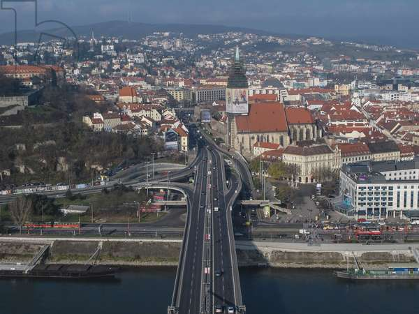 Bratislava and the Danube river seen from the panoramic terrace of the restaurant UFO on the New Bridge (Novy Most), 2010