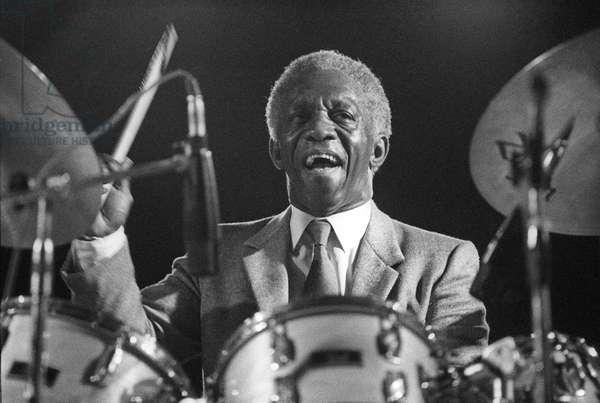 American jazz drummer Art Blakey (about 1984)/Il batteriata jazz Art Blakey (1984 circa) -