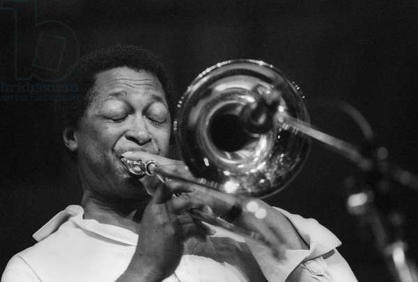 American jazz trombonist Curtis Fuller performing (about 1985) (photo)