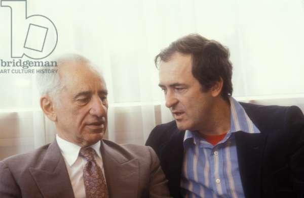 Venice Lido, Venice Film Festival, about 1983. Director Elia Kazan and Bernardo Bertolucci (photo)