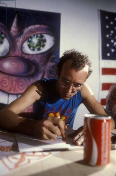 American artist Keith Haring (1958-1990) at Fiorucci store in 1985. Milan Italy