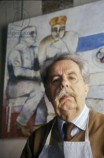 Rome, 1980. Italian painter Franco gentilini in his studio