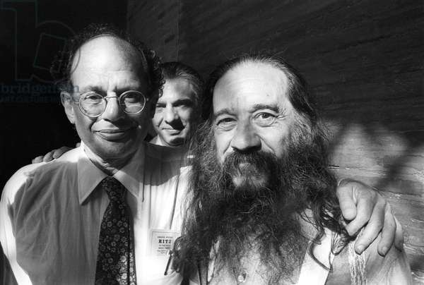 Rome, portico of the Church of Santa Maria in Cosmedin,1980. U.S. writers Allen Ginsberg, Peter Orlowsky and ?, in town to attend the Second Festival of Poets (photo)