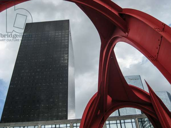 Paris, Esplanade de la Defense. L'Araignee Rouge (Red Spider) by Alexander Calder (1974) - 2008