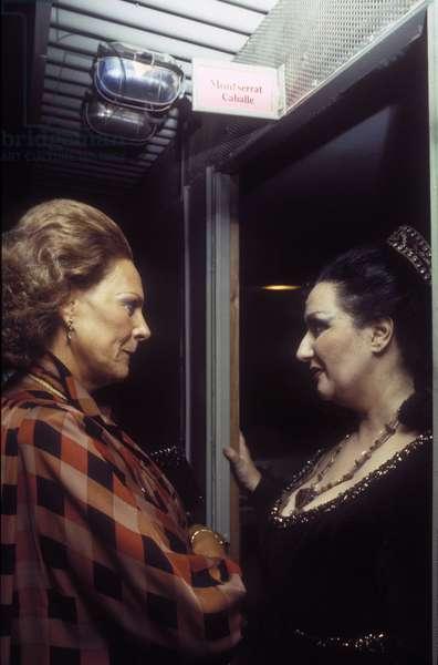 Portrait of the Spanish actresses Montserrat Caballe and Italian renata Tebaldi in 1983.