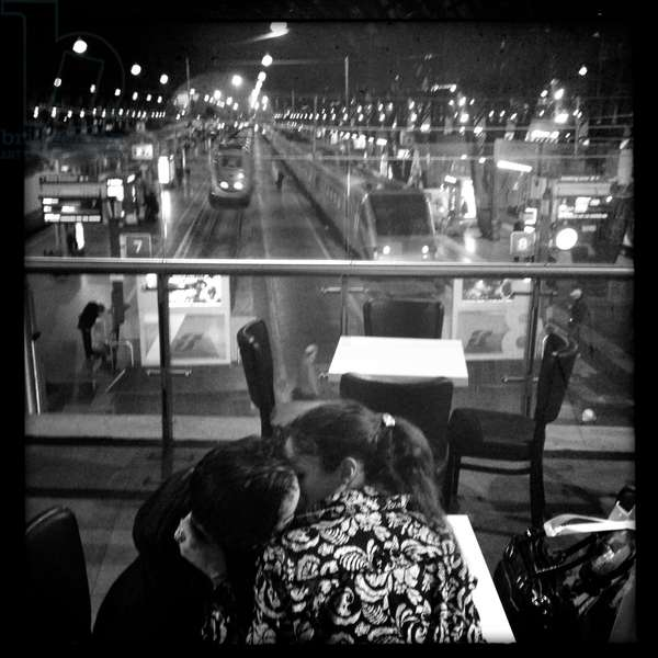 Couple kissing in Milan Central Station, 2012
