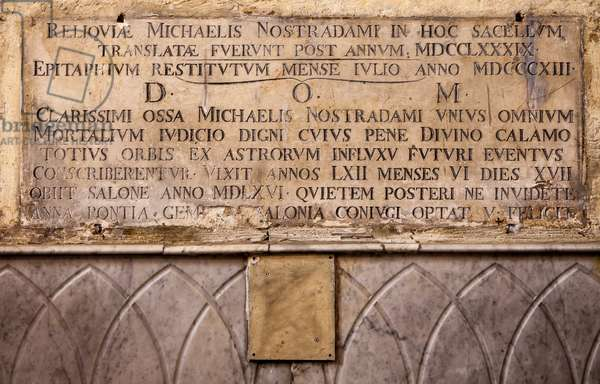 Plaque of the tomb of Nostradamus, Michel de Notre Dame (1503-1566) French astrologer and physician, church collegiale Saint Laurent a Salon de Provence (Nostradamus' current tomb in the Collegiale Saint-Laurent, into which his scattered remains were transferred after 1789)