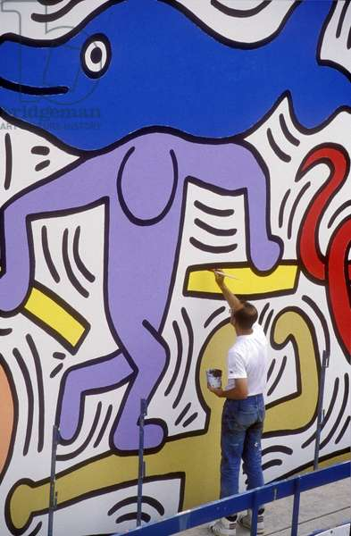 American artist Keith Haring (1958-1990) in 1989. Pisa Italy (for any use please contact the Keith Haring Foundation: David Stark, at dstark