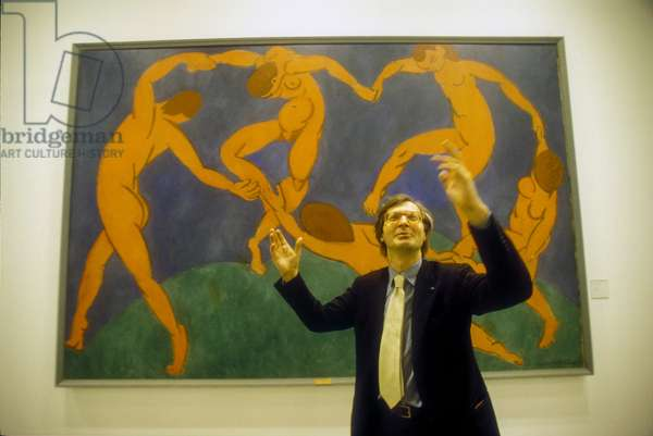 Rome, Quirinal Stables, 2000. Italian art critic Vittorio Sgarbi in front of