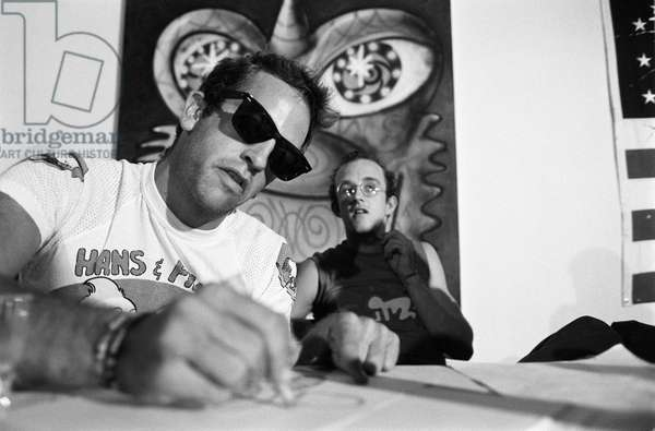 Artists KENNY SCHARF and KEITH HARING, Pisa 1989/KENNY SCHARF and KEITH HARING, artist, Pisa 1989