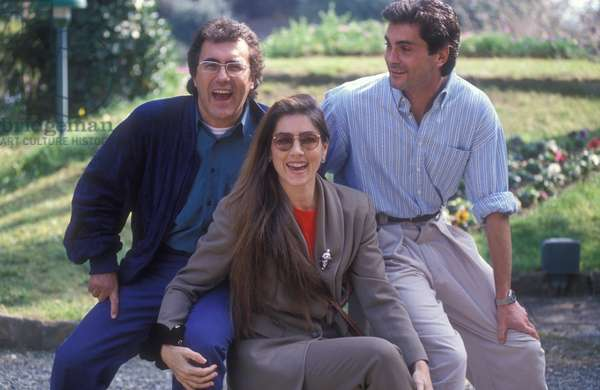 "Sanremo Music Festival 1991. Italian pop singers Al Bano and Romina Power (at the Festival with the song ""Oggi sposi"" ) with her brother Tyrone Power jr. (photo)"