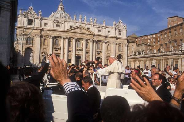 Vatican City, October 20, 1999. Pope John Pope II arrives in Popemobile at general audience in St. Peter's Square (photo)
