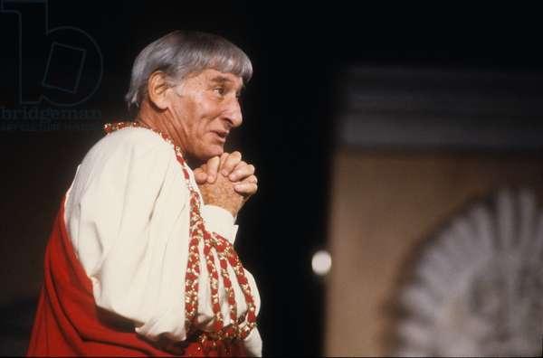 Ancient Ostia (Rome), Teatro Romano, July 1984. Italian actor Renato Rascel in Plautus' Casina (photo)