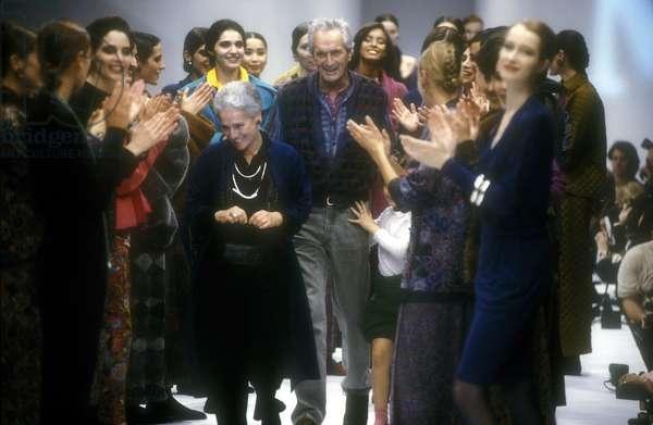 Fashion stylists Rosita and Ottavio Missoni, about 1990/Gli stilisti Rosita e Ottavio Missoni, 1990 circa -