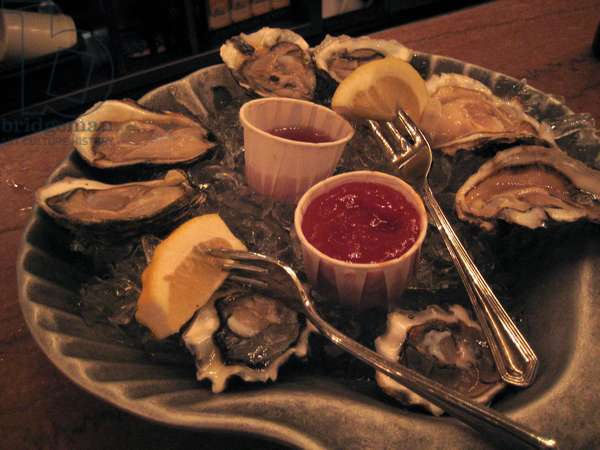 New York, 2008. Grand Central Oyster Bar and Restaurant at Grand Central Terminal: plate of seafood