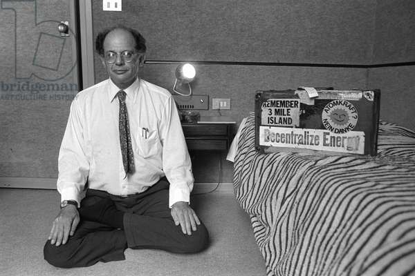 Rome, 1980. U.S. poet Allen Ginsberg - in town to attend the the Second Festival of Poets - in his hotel room (photo)