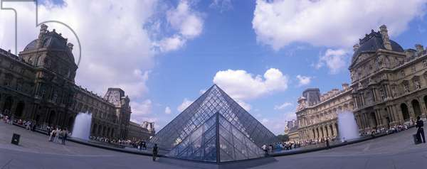 Paris, 1989. Pyramid by architect Ieoh Ming Pei in front of the Louvre Museum