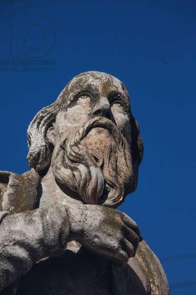 Representation of Nostradamus, Michel de Notre Dame (1503-1566) French astrologer and doctor sculpture on the Place du General de Gaulle at Salon de Provence